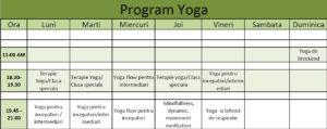 program yoga in timisoara