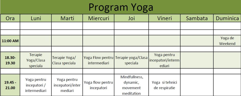 program yoga in timisoara